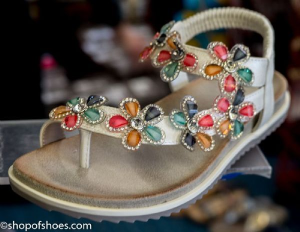 Womens summer toe post sandal with  jewel design in white shimmer